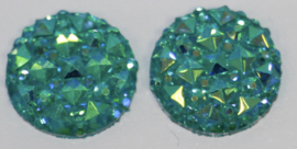 Rondje shiny aquablauw flatback 12mm, per 2 stuks