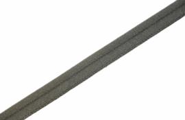 Elastisch paspelband glans/mat army, per meter