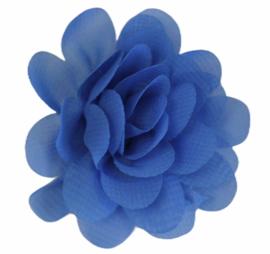 Stoffen bloem 5 cm blauw