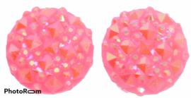 Rondje shiny roze flatback 12mm, per 2 stuks