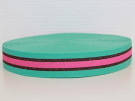 Mint/ roze/ rood-brons lurex gestreept elastiek 30 mm per 0,5 meter