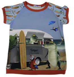 Shirt: kroko on the beach maat 104-140