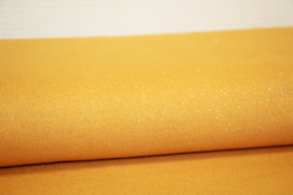 Mosterdgele met mosterdgele glitter boordstof. Rondgebreid 45 cm. Per 25 cm