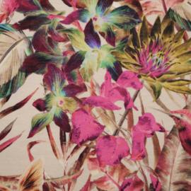 Digitale print tricot: JUNGLE SAND FUCHSIA, per 25 cm