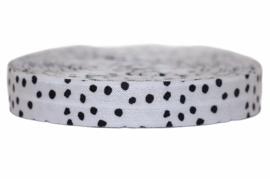 Elastisch band wit met zwart stipje  per 0,5 meter