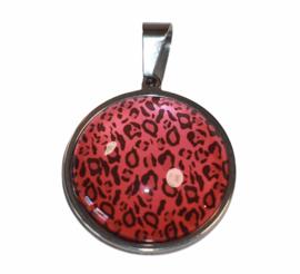Glas cabochon 25mm: dierenprint rood/zwart
