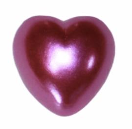 Flatback hartje paarsroze 10mm, per stuk