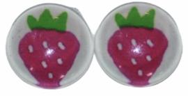 Glas flatback cabochon 12mm aardbei roze per 2 stuks