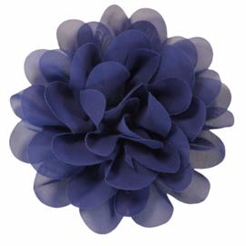 Stoffen bloem 10 cm donkerkobalt