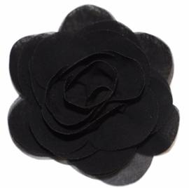 Stoffen bloem 8 cm zwart