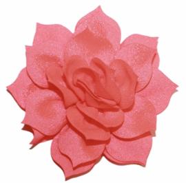 Chiffon lotus bloem 8 cm neon koraal-roze