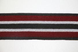 'Broek' streep: lurex bordeaux-wit-zwart gebreid band +/- 30mm, per 0,5 meter