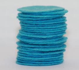 Rond viltje aquablauw 25mm, per stuk