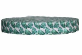 Elastisch band wit met groen blad 16 mm per 5 meter