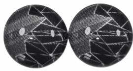 12 mm glascabochon zwart-wit, per 2 stuks