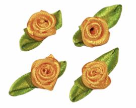 Roosjes met blad 25x15 mm warmgeel per 4 stuks