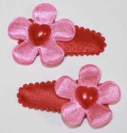 Haarclipjes rood met bloem roze met hartje