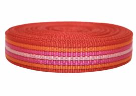 Tassenband rood/oranje/fuchsia/roze 25mm EXTRA STEVIG, per 0,5 meter