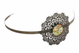Haarband/ diadeem metaal antiek brons met setting 20mm, per stuk