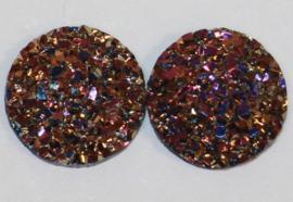 Rondje shiny goud/paars flatback 12mm, per 2 stuks