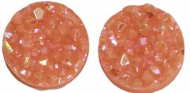 Flatback rondjes shiny neonoranje 10 mm, per paar