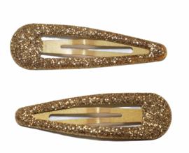 Klik klak haarspeldje glitter goud 5cm, per stuk
