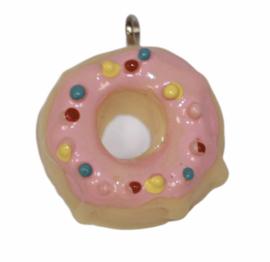 Hanger donut roze/beige 21x26mm, per stuk