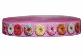 Elastisch band roze met donuts 16 mm per 5 meter