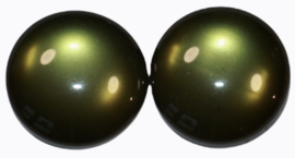 Cabochon glanzend donkergroen 12mm, per 2 stuks