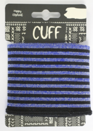 Cuff  stripes glitter zwart-kobalt  7x110 cm
