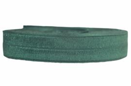 Elastisch biaisband/vouwtres donkergroen 20 mm, per 0,5 meter