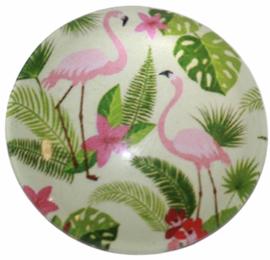 Glas cabochon 25mm: Flamingo's/blad