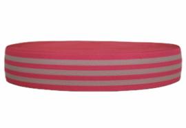Neonroze wit gestreept elastiek 40 mm per 0,5 meter