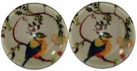 Glas flatback cabochon 12 mm vogel, 2 stuks