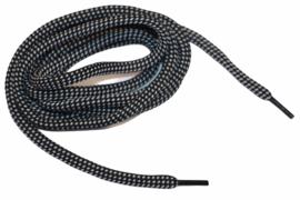 Koord rond 130 cm zwart/wit 5mm, met eindstuk zwart