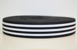 Zwart wit gestreept elastiek 40 mm per 0,5 meter