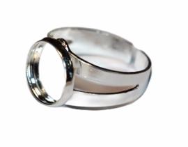 Ring zilverkleur dia 19mm verstelbaar +setting 12mm, per stuk