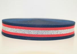 Donkerblauw/rood/ met zilveren streepjes elastiek 30mm per 0,5 meter