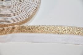 Elastisch biaisband/vouwtres semi gold 20 mm per 0,5 meter