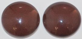 Glas flatback cabochon 12mm donkerbruin per 2 stuks