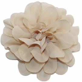 Stoffen bloem 10 cm beige