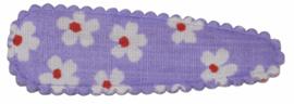 kniphoesje katoen lila met bloemetje wit/rood  5 cm
