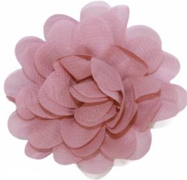 Stoffen bloem 7 cm oudroze
