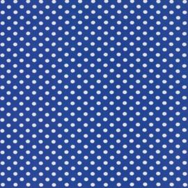 Tricot kobalt blauw met witte stippen 1cm per 25cm