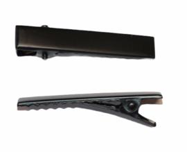 Alligator haarspeldjes rechthoek 40 x 7 mm mat zwart, per stuk