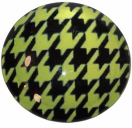 Glas cabochon 25mm: Pied de poule groen zwart