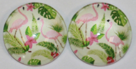 12 mm glascabochon flamingo's  per 2 stuks