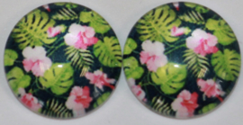 12 mm glascabochon bloem roze en gatenplant  per 2 stuks