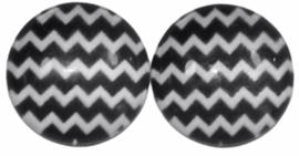 12 mm glascabochon zwart-wit chevron, per 2 stuks