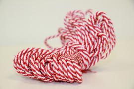 Rood wit rond koord 2-3mm, per meter